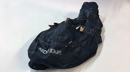 damaged motorcycle seat cover