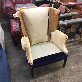 wing back chair restoration