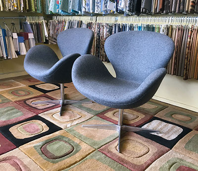reupholstered swan chairs